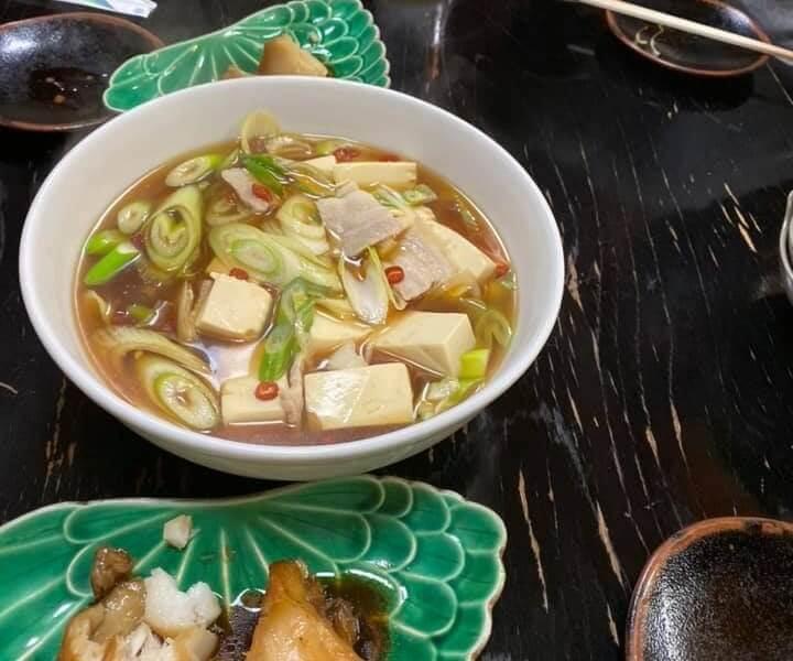 はしご酒、吉井川のおかず豆腐スープ